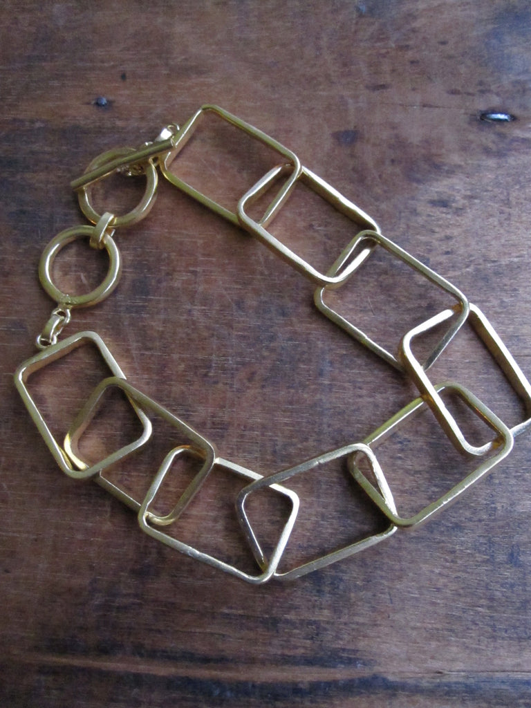 Gold plated rectangle link bracelet