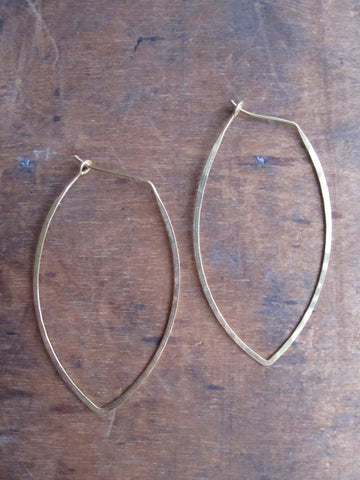 Gold plated 925 Silver Thin earrings - oval