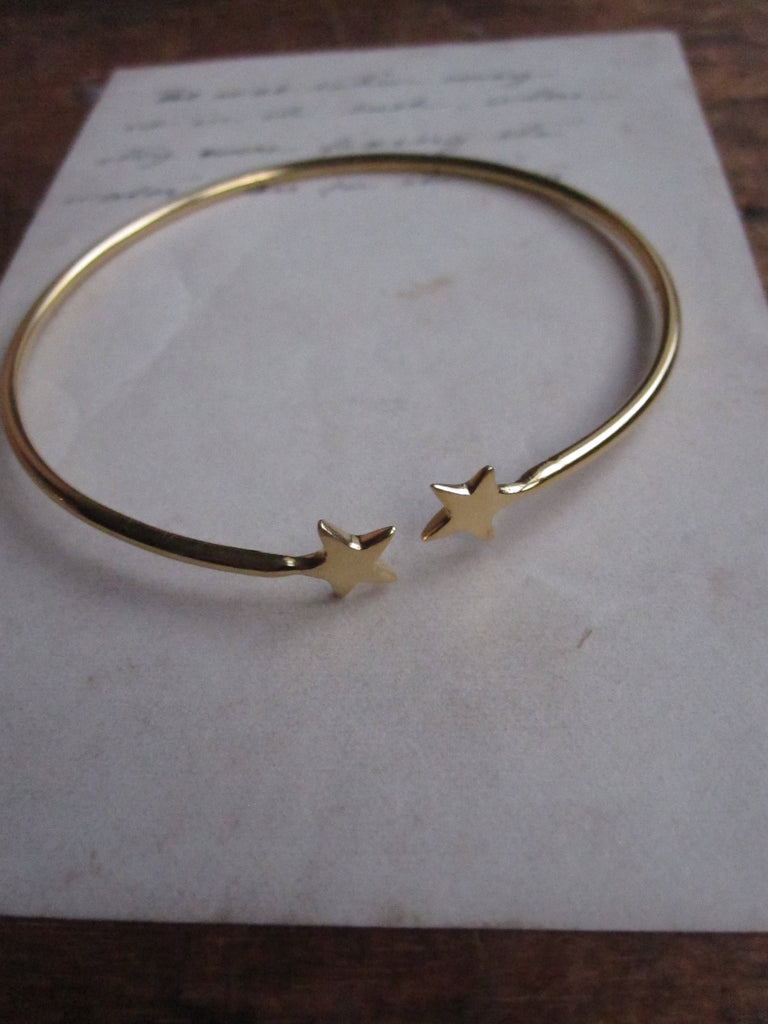 Gold plated 925 Silver Star open bangle