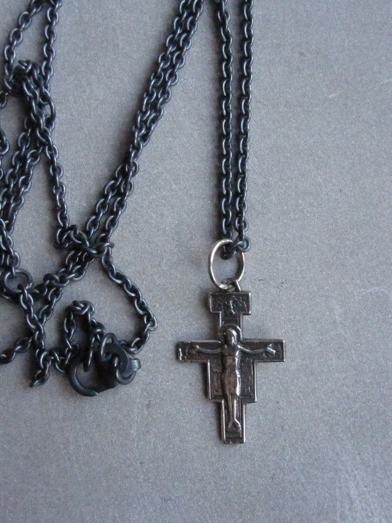 WDTS Oxidised 925 Silver cross with Jesus necklace