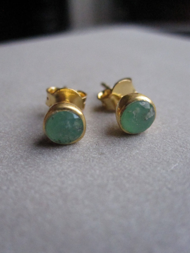 Gold plated Chrysophrase stud earrings