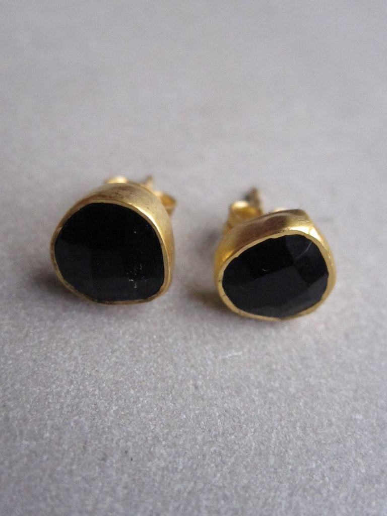 Gold plated irregular Onyx Earrings