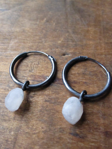 925 Silver Small Rainbow Moonstone Hoop Earrings - Oxidised
