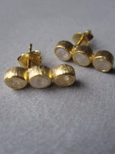 Triple Moonstone Earrings - Gold plated silver