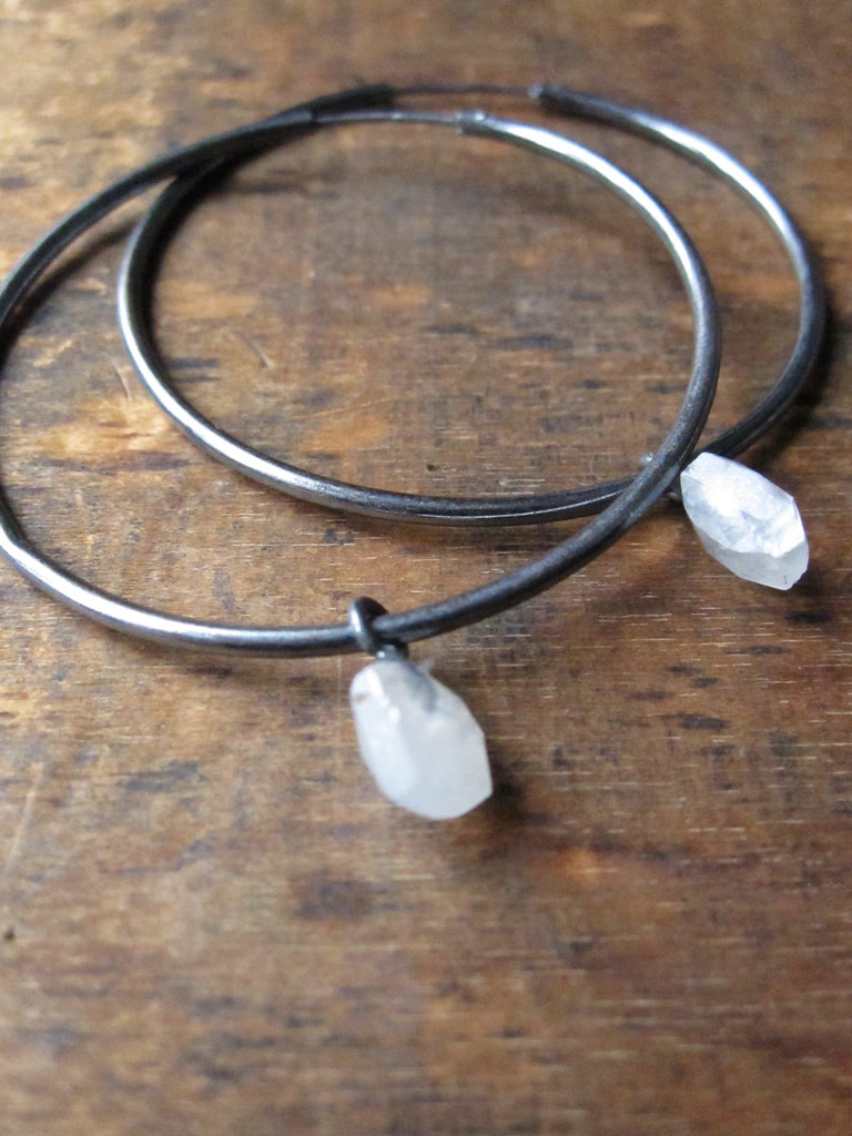 925 Silver Rainbow Moonstone Hoop Earrings - Oxidised