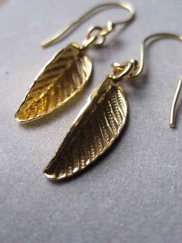 925 Silver Folded Leaf Earrings - Gold
