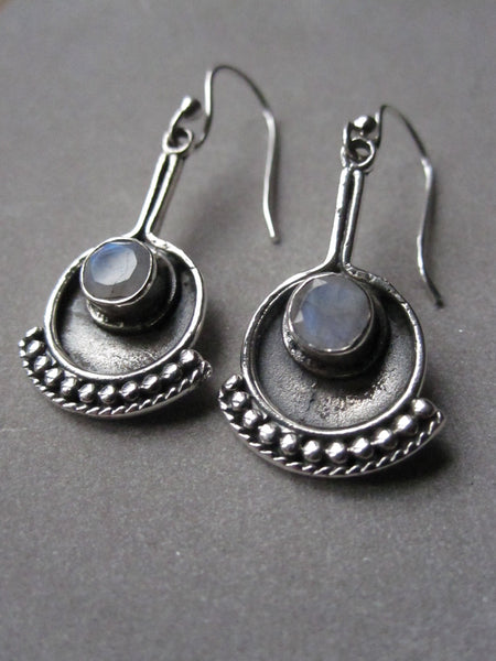 925 Silver Egon Earrings - Moonstone