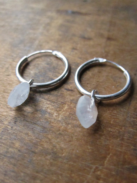 925 Silver Small Rainbow Moonstone Hoop Earrings