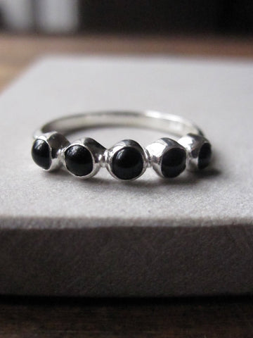 925 Silver multi Black Onyx Ring