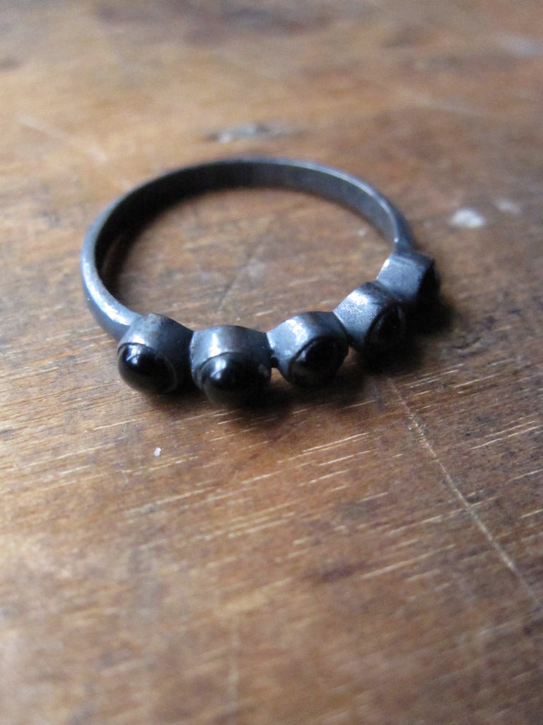 925 Silver multi Black Onyx Ring - oxidised