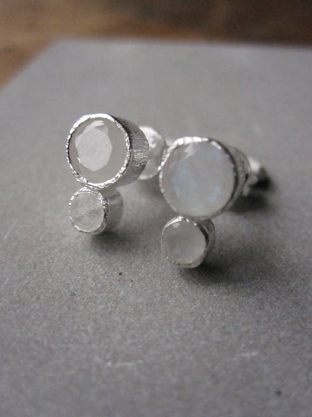 925 Silver Double Moonstone Earrings