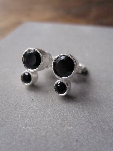 925 Brushed Silver Double Onyx Earrings