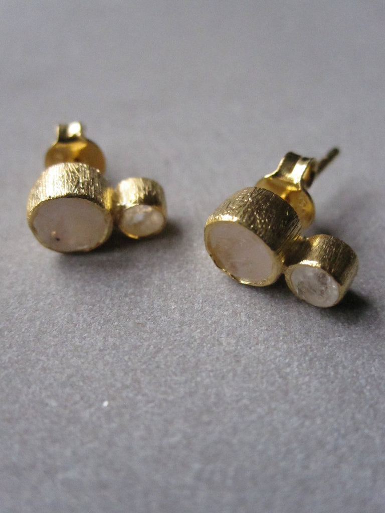 925 Silver Double Moonstone Earrings - Gold