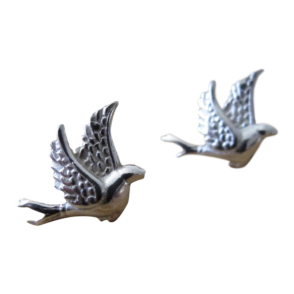 925 Silver Little Bird Studs- oxidised