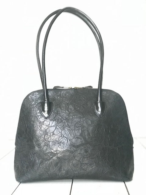CollardManson Bowling Bag -  Black floral