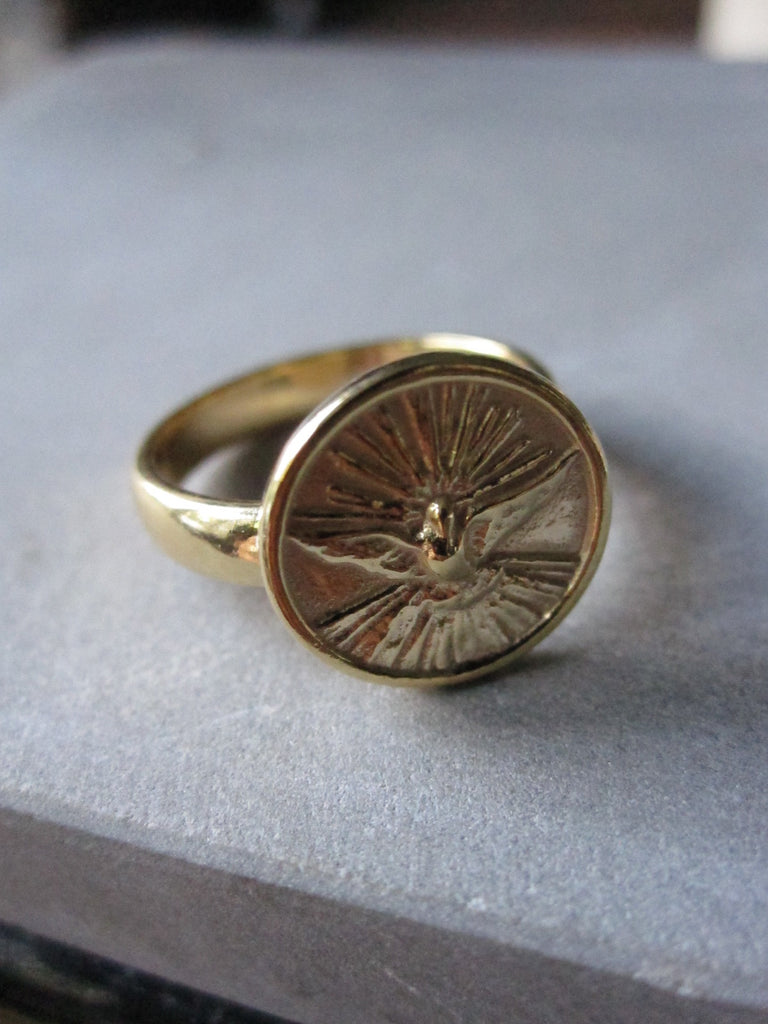 WDTS Dove of Peace gold plated ring