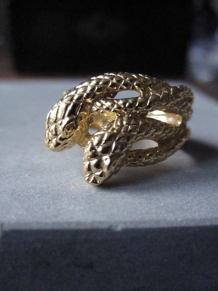 Gold Plated Silver Double snake ring