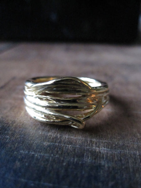 Gold Plated Birds Nest 925 Silver ring