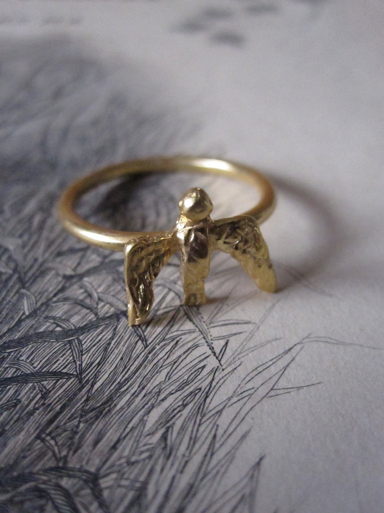 CollardManson 925 gold plated Silver Swallow Ring