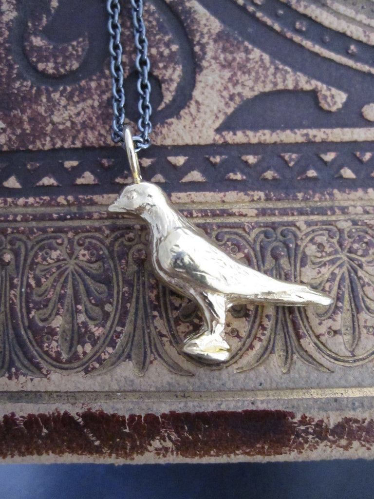 CollardManson 925 silver - Perched Bird Necklace - Gold plated