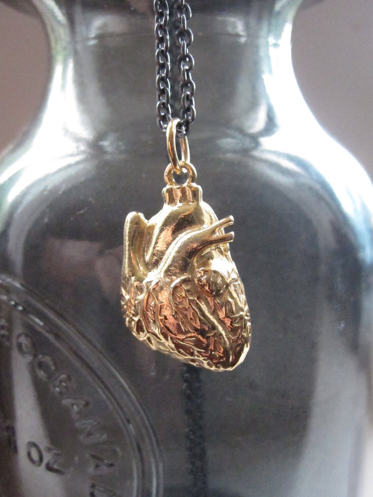 WDTS 925 Silver Anatomical Heart Necklace Gold Plated