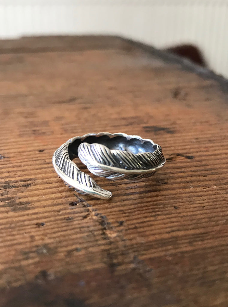 925 Silver feather wrap ring