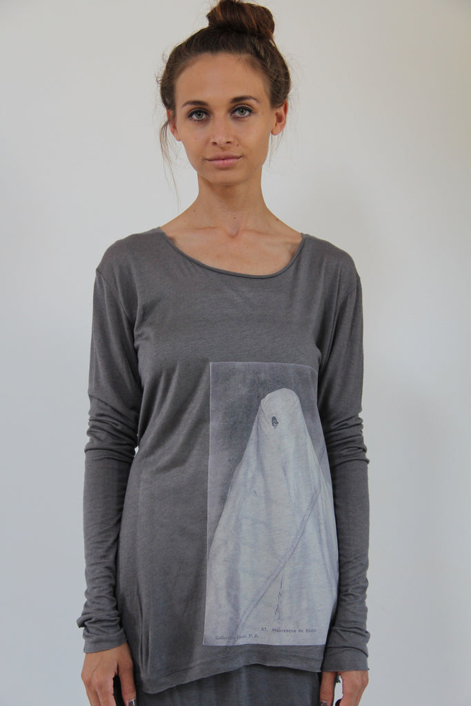 Window Dressing The Soul- Shroud Long Sleeve Grey T-Shirt