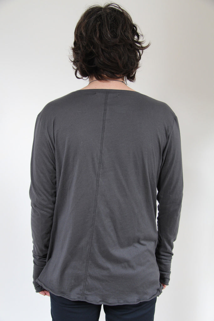 Window Dressing The Soul Long Sleeve Twist Shirt Charcoal
