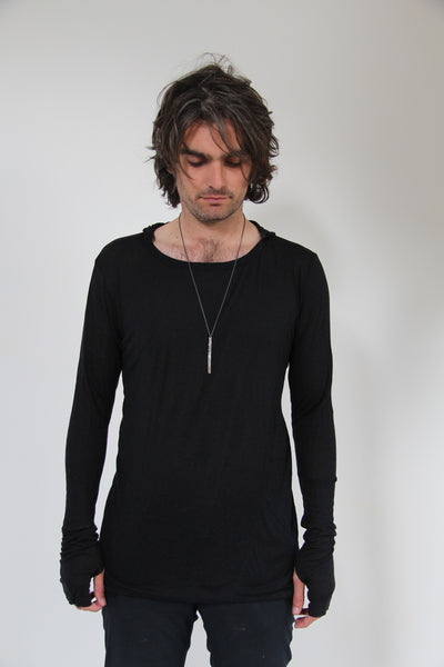 Window Dressing The Soul Long Sleeve Twist Shirt With Hood Black