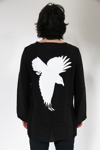WDTS Frayed Edge Linen Top - Black With Crow Print On Back