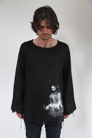 WDTS Frayed Edge Linen Top - Black Jordanna and Pig