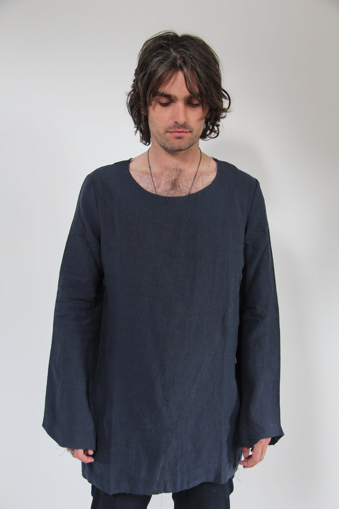 WDTS frayed edge linen top- blue with crow silhouette - unisex
