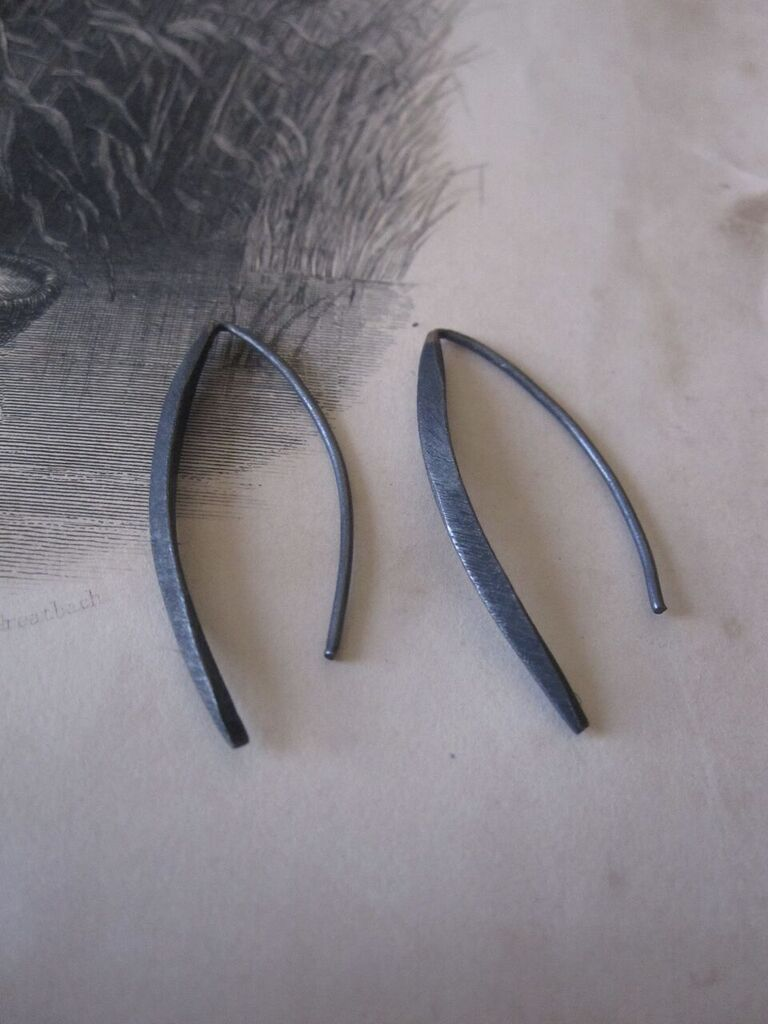 Small Curved Oxidised Drop Earrings 925 silver