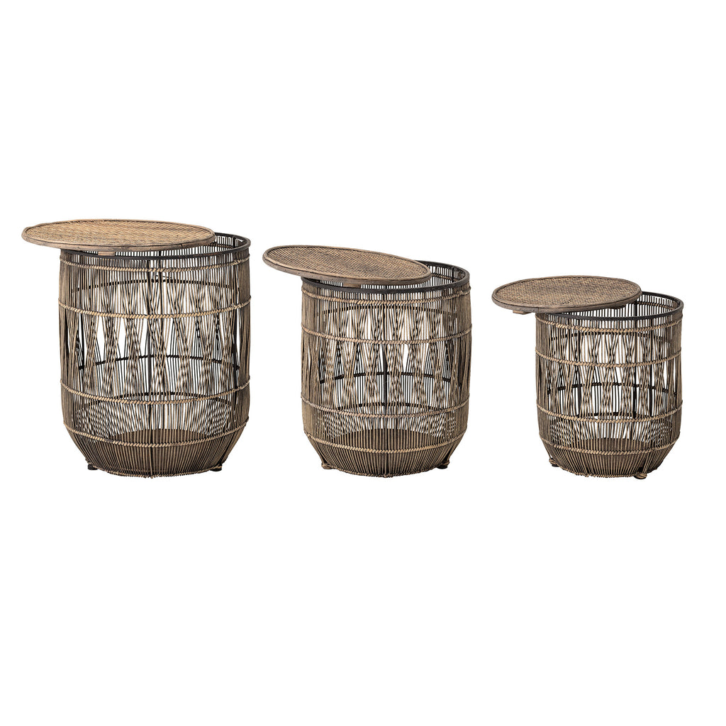 Brown Bamboo Sidetable - Set of 3