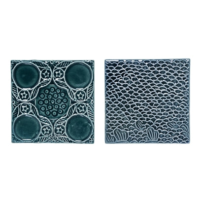 Deco Tiles, Green, Stoneware