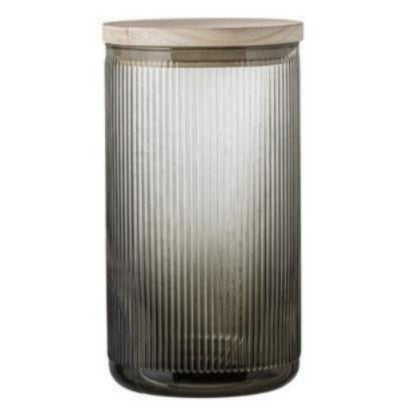 Jar w/ lid - Grey, Glass