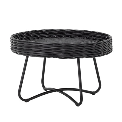Hattie Coffee Table, Black, Rattan