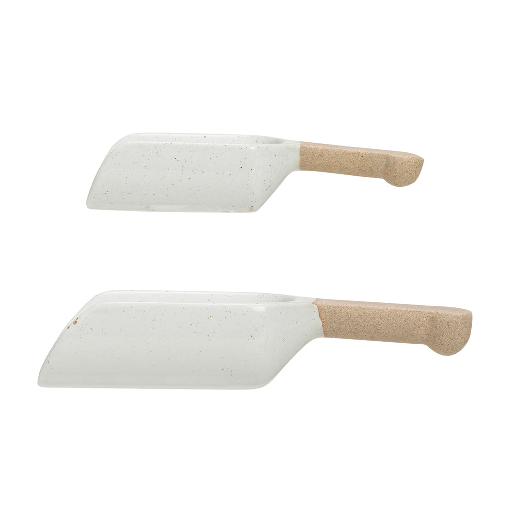 White Stoneware Spoon Set