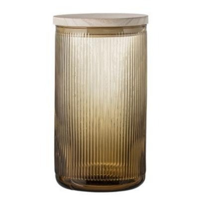 Jar w/ lid - Brown, Glass