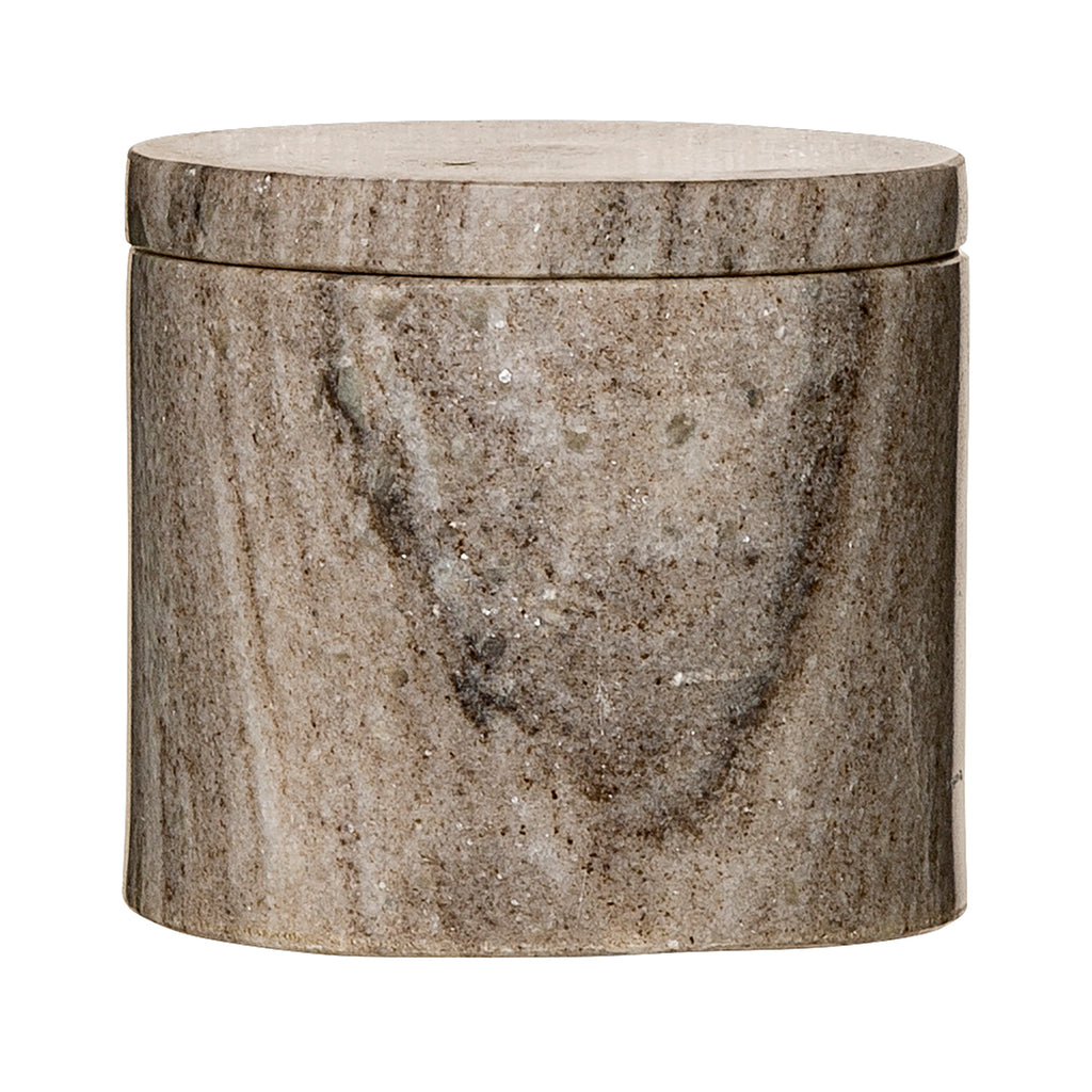 Jar with Lid- Natural Marble