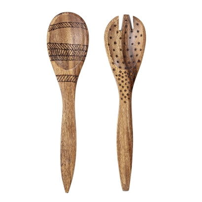 Salad Servers, Brown, Acacia