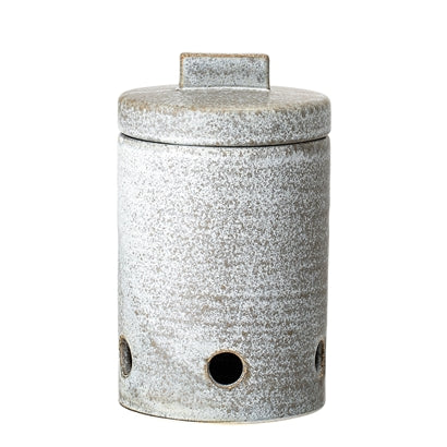 Hazel Garlic Jar, Grey, Stoneware