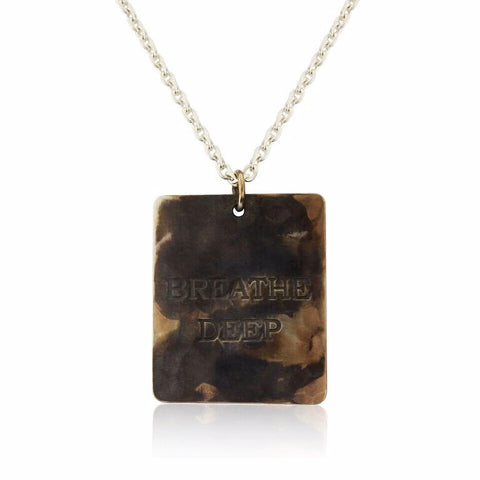 WDTS Sheffield Silver - Hand Hammered Necklace - BREATHE DEEP - Mixed Finish