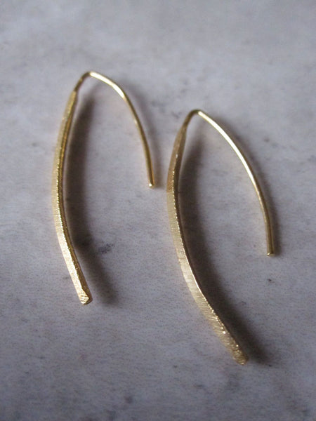 Small Curved Drop Earrings 925 Silver - Gold