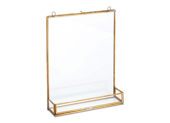 Large Kiko Glass Frame With Shelf - Antique Brass