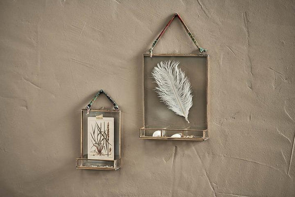 Kiko Glass Frame With Shelf - Antique Brass