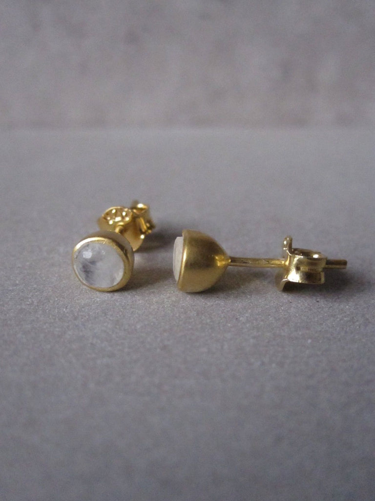 Gold plated Moonstone stud earrings