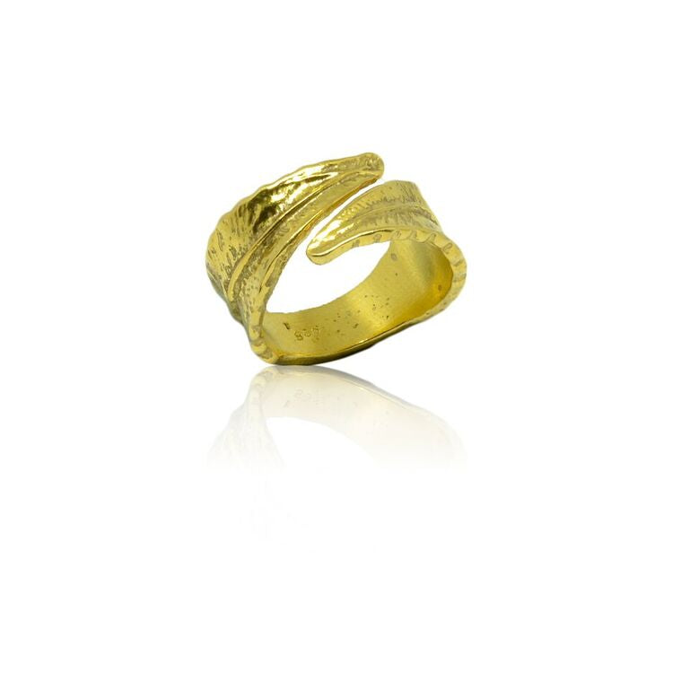 CollardManson 925 silver wrapped leaf ring- gold