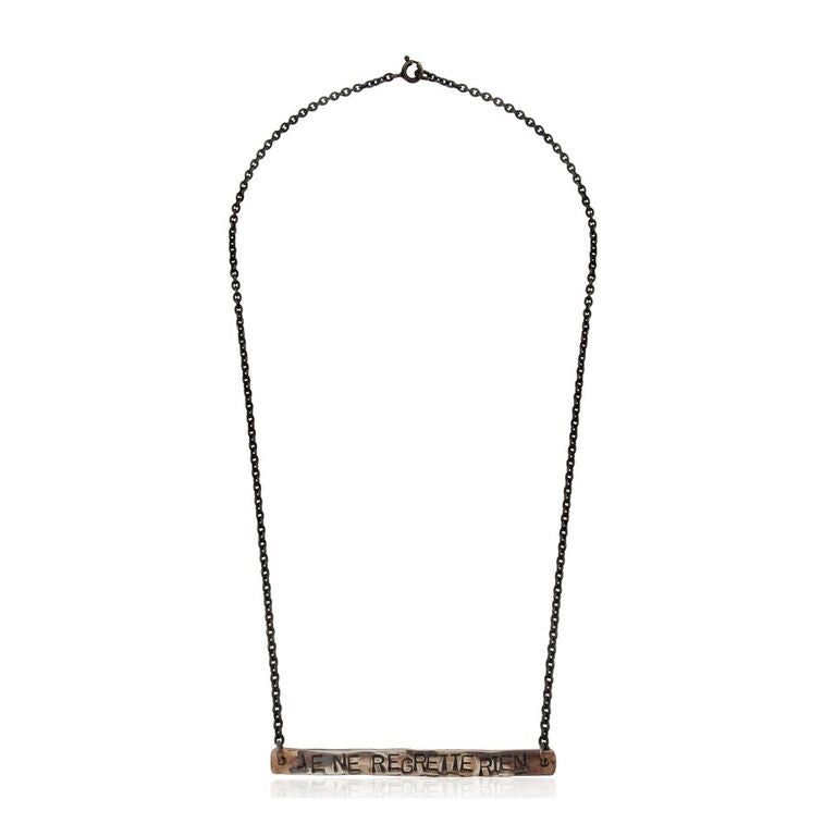 WDTS Sheffield Silver - Hand Hammered Necklace - JE NE REGRETTE RIEN - Mixed Finish