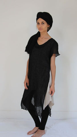 CollardManson Open Side Crinkled Linen Dress- Black